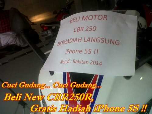 Beli Honda CBR250R Gratis iPhone