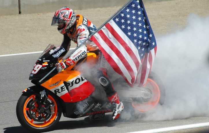 Nicky Hayden with US Flag
